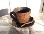 Чашка глиняная с блюдцем и ложечкой (100 мл)
