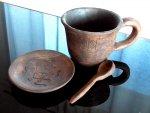 Чашка глиняная с блюдцем и ложечкой (300 мл)